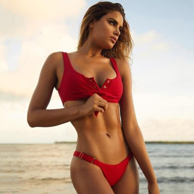 Bikini color rojo con push up